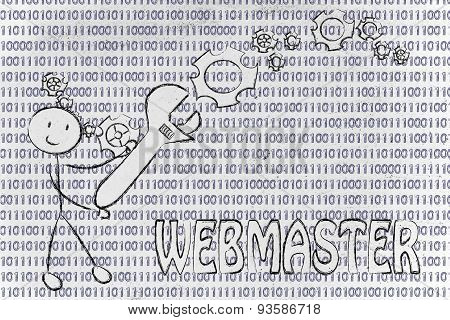 Man With Wrench Setting Up Binary Code, Webmaster Jobs