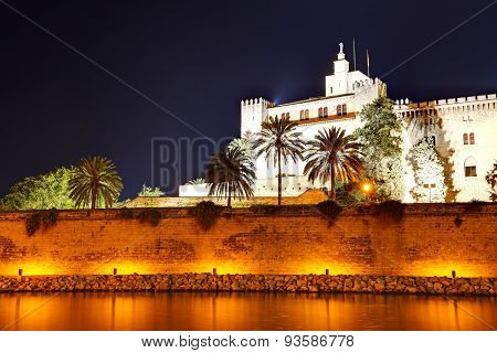 The Night View On Cathedral Of Santa Maria Of Palma In Palma De Mallorca, Spain
