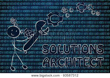 Man With Wrench Setting Up Binary Code, Solution Architect Jobs