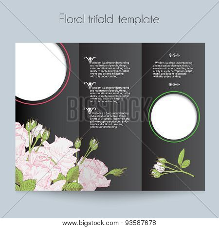 Floral roses template, tri-fold, mockup for brochure
