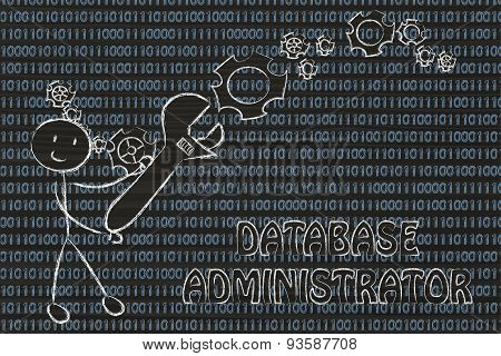 Man With Wrench Setting Up Binary Code, Database Administrator Jobs