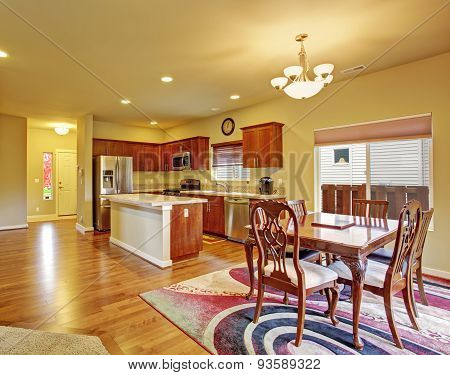 Excellent Dinning Room With Connected Kitchen.