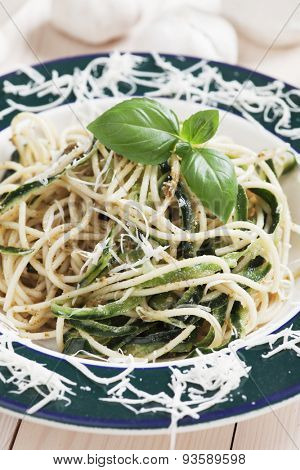 Italian zucchini pasta with basil and parmesan cheese