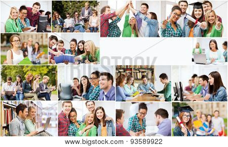 education concept - collage with many pictures of students in college, university or high school with copyspace