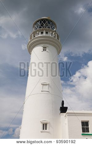 White Lighthouse On Flamborough Head In England.