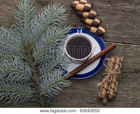 Coniferous Branch, Coffee And Cookies Top View