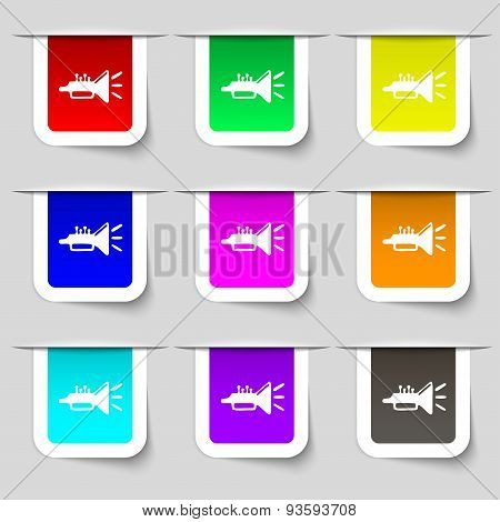 Trumpet, Brass Instrument Icon Sign. Set Of Multicolored Modern Labels For Your Design. Vector