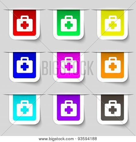 First Aid Kit Icon Sign. Set Of Multicolored Modern Labels For Your Design. Vector