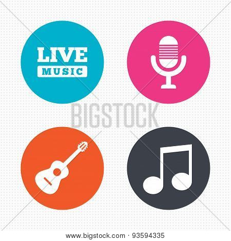 Musical elements icon. Microphone and guitar.