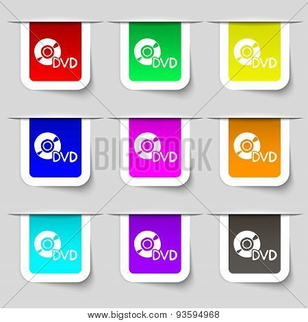 Dvd Icon Sign. Set Of Multicolored Modern Labels For Your Design. Vector