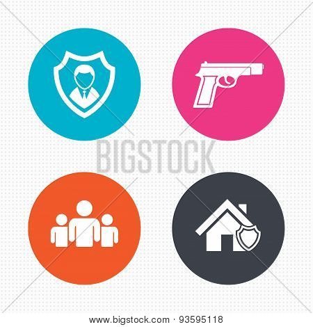 Security agency icons. Home shield protection.