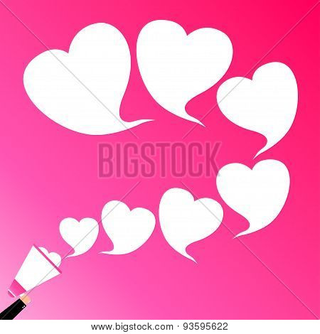A Hand Holding Megaphone, With Hearts Speech Bubble Announcement, Love, Vector Illustration