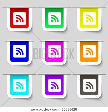 Rss Feed  Icon Sign. Set Of Multicolored Modern Labels For Your Design. Vector