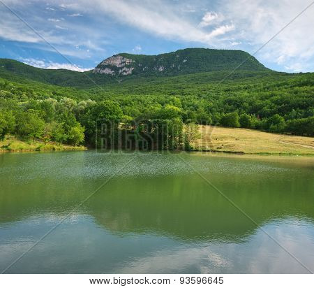 Lake in mountain. Nature composition.