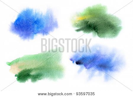 Set of watercolor spots in blue and green tones