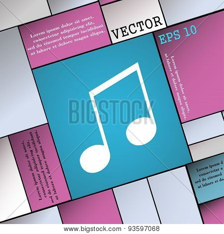 Musical Note, Music, Ringtone Icon Sign. Modern Flat Style For Your Design. Vector
