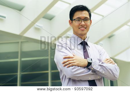Portrait Chinese Businessman Smiling Outside Office Text Space