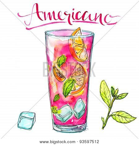 Glass of americano cocktail with mint, orange and ice. Watercolor vector illustration of alcohol