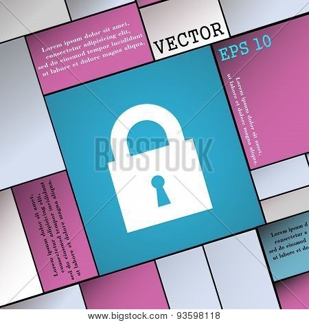 Closed Lock Icon Sign. Modern Flat Style For Your Design. Vector