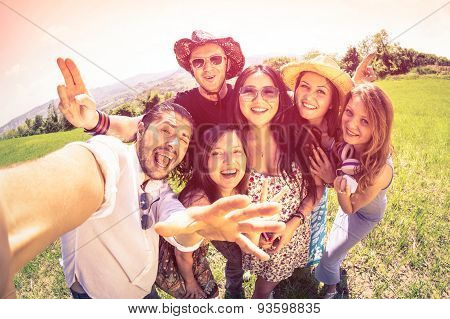 Best Friend Taking Selfie At Countryside Picnic - Happy Friendship Concept And Fun With Young Peopl