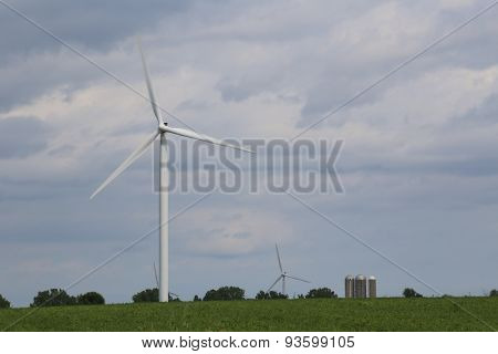 Alternative Energy Wind Turbines With Silos