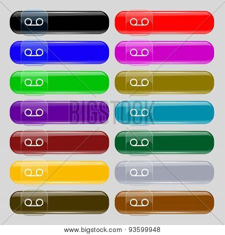 Audio Cassette Icon Sign. Big Set Of 16 Colorful Modern Buttons For Your Design. Vector
