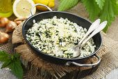 picture of nettle  - Risotto with nettles and lemon in the frying pan - JPG