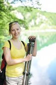 pic of emerald  - young woman traveling in mountains - JPG
