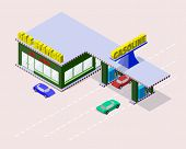 pic of gasoline station  - Isometric gas station with cars gasoline pump nozzles market cafe and markings on the road - JPG