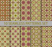 stock photo of ten  - Set of vintage geometric seamless patterns - JPG