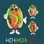 foto of hot dog  - Set of three style summer hot dog special for National Hot Dog Day - JPG