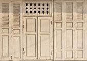 picture of windows doors  - Old wooden door and window frame - JPG