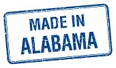 picture of alabama  - made in Alabama blue square isolated stamp - JPG