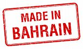 stock photo of bahrain  - made in Bahrain red square isolated stamp - JPG