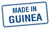 picture of guinea  - made in Guinea blue square isolated stamp - JPG