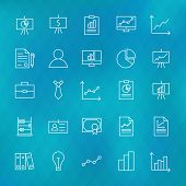 stock photo of line graph  - Business Chart Graph and Finance Line Icons Set over Polygonal Blurred Background - JPG
