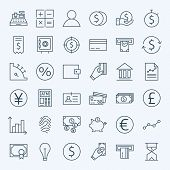 pic of money  - Line Finance Money and Banking Icons Set - JPG