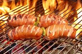 stock photo of grilled sausage  - Close - JPG