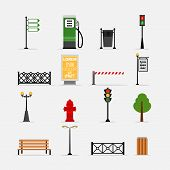 picture of tree lined street  - Vector street element icons set - JPG