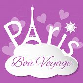 stock photo of bon voyage  - Tower Eiffel with Paris lettering - JPG