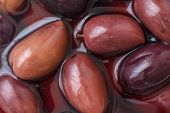 image of kalamata olives  - Detail of Greek Kalamata olives in brine - JPG