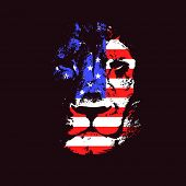 image of lions-head  - Lion head with USA flag - JPG