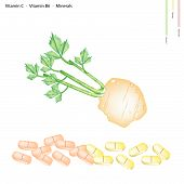 pic of celery  - Healthcare Concept Illustration of Root of Celery with Vitamin C Vitamin B6 and Minerals Tablet Essential Nutrient for Life - JPG