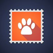pic of animal footprint  - Illustration of an orange mail stamp icon with an animal footprint - JPG
