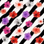 picture of color spot black white  - Vector illustration of floral seamless - JPG