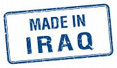 picture of iraq  - made in Iraq blue square isolated stamp - JPG