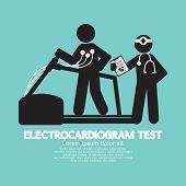 pic of electrocardiogram  - Electrocardiogram Test Black Symbol Vector Illustration - JPG