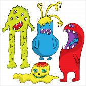 image of halloween characters  - Set of Cute cartoon Monsters - JPG