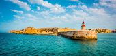 image of lighthouse  - Lighthouse in Valletta from sea - JPG