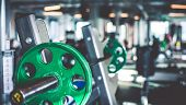stock photo of rod  - Rod with weights in the gym - JPG